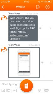 Screenshot of Voxer on a phone, with a bright orange walkie talkie icon at the bottom.
